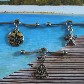 Starfish / Ship Anchor / Sand Dollar Cartilage on Industrial Barbell Body Jewelry