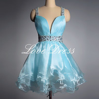 Pretty sweetheart mini light blue prom dress / homecoming dress
