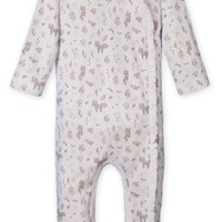 Ruffle Kimono Footie (Foxes & Bunnies on White) by Feather Baby