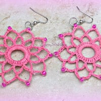 Pink Crochet Earrings Handmade Earrings Direct Checkout Statement Valentine Jewelry