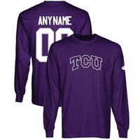 TCU Horned Frogs Personalized Football Name & Number Long Sleeve T-Shirt - Purple