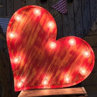 Rustic Red Vintage Heart Lighted Marquee Sign | Zazzle