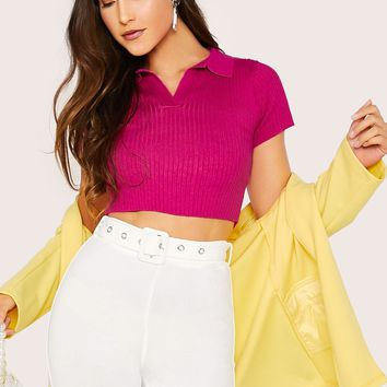 V-collar Rib-knit Crop Knit Top