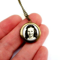 Personalized Photo Locket Necklace : Small Vintage Bronze Pendant. Custom Handcrafted Jewelry by Lizabettas