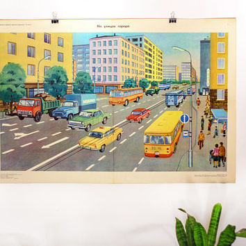 Large Original USSR Poster CITY STREETS - Rare! Soviet Vintage School Chart: Architecture, Cars, Pedestrians, Public Transport, Russian Text