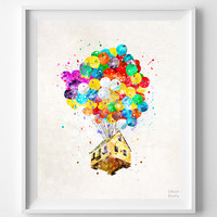 Up Disney Print, Balloon House, Watercolor Art, Flying House, Disney Poster, Kids Room Decor, Wall Decor, Bedroom Art, Halloween Decor