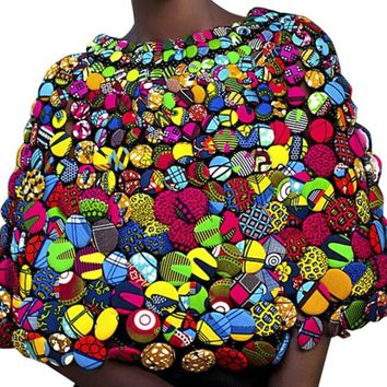 Ankara Print Colorful Buttons Necklace