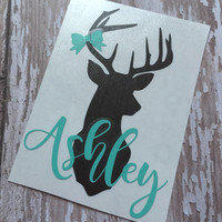 Deer Head Name Decal | Name Dear Head | Monogrammed Deer Decal | Monogrammed Deer | Personalized Deer Car Decal | Buck | Doe