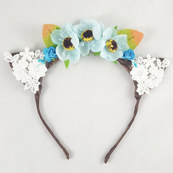 Floral and Lace Cat Ears