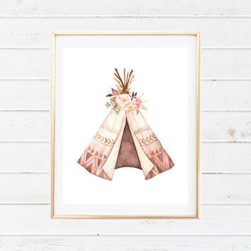 Boho Tribal Teepee and Floral Baby Nursery Printable - Watercolor Teepee Floral Wall Art - Printable Nursery Art - Tribal Boho Printables