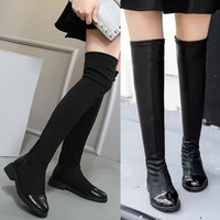 Retro Vintage Women Over the Knee Slim Thigh High Boots a13454