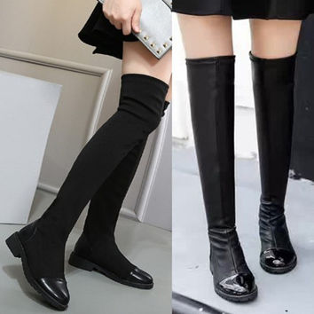 SIMPLE - Retro Vintage Women Over the Knee Slim Thigh High Boots a13454