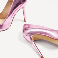 METALLIC PINK LEATHER HIGH HEEL SHOES - NEW IN-WOMAN | ZARA United States