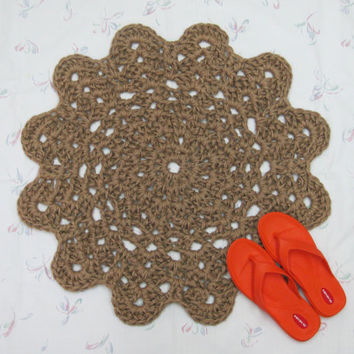 Crochet Jute Flower Rug - Natural Fiber Rug - Throw Rug - Scatter Rug - Hypoallergenic - Hippie Decor - Primitive Decor - Round Rug