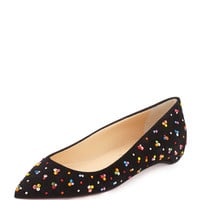 Christian Louboutin Pigalle Follies Embellished Red Sole Skimmer Flat, Black/Multi