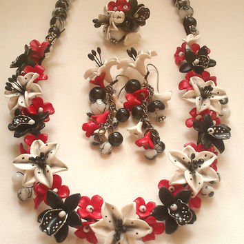 Floral jewellery set - Colourful jewellery - Flower necklace , earrings, ring