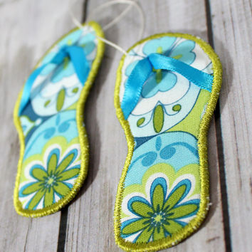 Christmas Ornament Flip Flop  Beach Theme Coastal Decor Set of Two made with Blue and Green Floral Fabric and a Sage Green Embroidery Edge