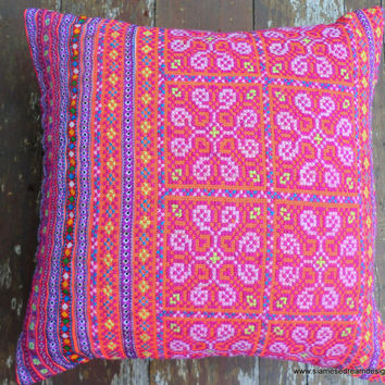 Boho Pillows Colorful Embroidered Pink Hmong Cushion Cover 16 inch