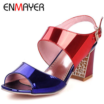 ENMAYER Buckle Strap Women High Heels Soft Leather Party Bright Summer Fashion 3 Colors Blue Sandals Shoes Woman Size 34-43