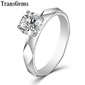 TransGems 14K White Gold Solitaire 1ct 6.5mm F Color VVS Moissanite Engagement Ring for Women Wedding Gold Ladies Ring