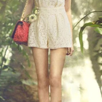Casual Floral Lace Embroidered Romper