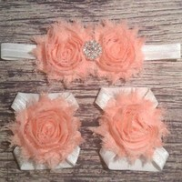 Peach and White Rhinestone Headband and Barefoot Sandals Set - Baby Barefoot Sandals - Baby Girl Headband - Baby Girl - Headband - Sandals