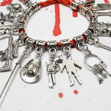 Walking Dead Inspired Charm Bracelet, zombie apocalypse red weapons