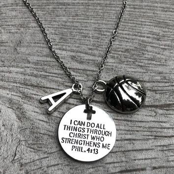 Personalized Basketball Faith I Can Do All Things Through Christ Who Strengthens Me Necklace