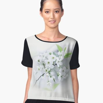 'White cherry blossoms. ' Women's Chiffon Top by Veronika2V