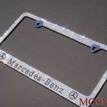 Premium Bling MERCEDES BENZ (White Cap-A Type) Crystal Diamond Rhinestone-Metal Chrome License Plate Frame