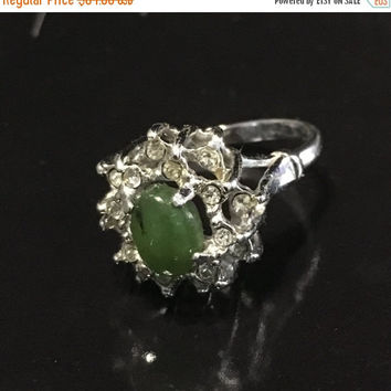 5 DAY SALE (Ends Soon) Vintage 1960s White Gold Plated Jade Ring - Stamped - Size 6.5