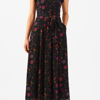 Ruffle floral print georgette maxi dress