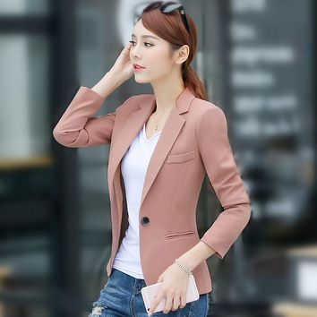 S-4XL New Women's Casual Blazer Coat Spring 2017 Fashion Elegant Solid color Button Slim Workwear Suits Tops Female Plus size