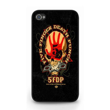 Cool Black 5FDP Five Finger Death Punch Skull iPhone 4 4S 5 Hard Case Cover