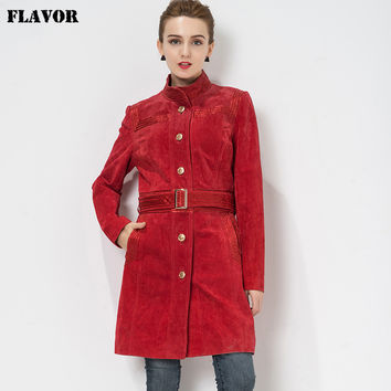 Women's Genuine Leather jacket Red Trench Coat women Real leather jacket Pig skin denim jacket windbreaker slim