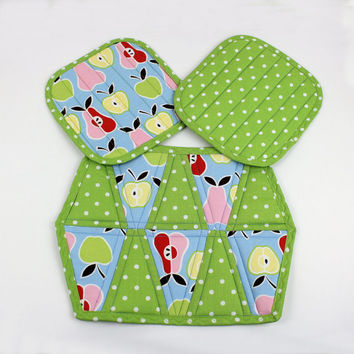 Apples and Pears Pads and Mug Rug or Trivet - 3 piece set in Blue and Green Fruit and Polka Dots