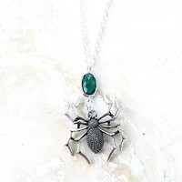 Halloween Jewelry, Spider Pendant, Teal Jewelry, Spooky Halloween Necklace