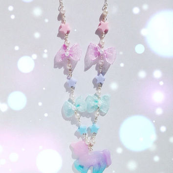 Cute Unicorn Necklace with Bow and Pearl Detail, Fairy Kei, Pastel Kei, Mahou Kei, Harajuku etc inspired