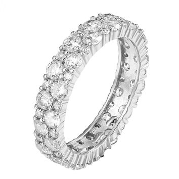Cluster Eternity Engagement Band 925 Sterling Silver CZ Solitaire Ring Promise