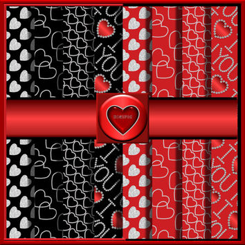 """COMMERCIAL USE OK 8 Digital Valentine Diamond Heart Scrapbook Papers, 12""""x12"""" 300Dpi Instant Download"""
