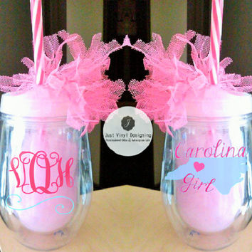 2 Bev2Go, personalized wine cup, Carolina Girl, Monogram cup, set of 2, bridesmaid cup