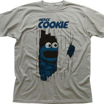ESBON Fashion Funny Tops Tees here's Cookie Monster The Shining funny printed Black T-Shirt Men's Shirt