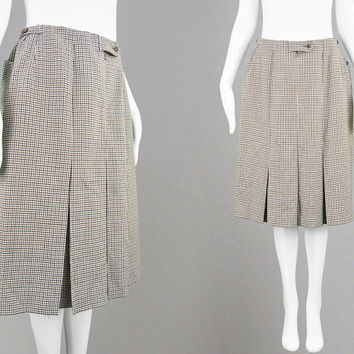 Vintage 60s 70s DAKS London Skirt Designer Skirt Inverted Pleat Skirt Kick Pleat Skirt Houndstooth Print Hounds Tooth Check Mini Wool Skirt