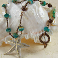 Necklace White Starfish and Aqua by ChiavariDesigns on Etsy