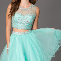 Short Two Piece Dress with Jewel Embellished Sheer Bodice