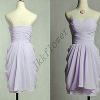 Short Beautiful Lavender Sweetheart Bridesmaid Dresses,Custom Made Lavender Prom Dresses,Short Homecoming Dresses,Bridal Grown Wedding 2015