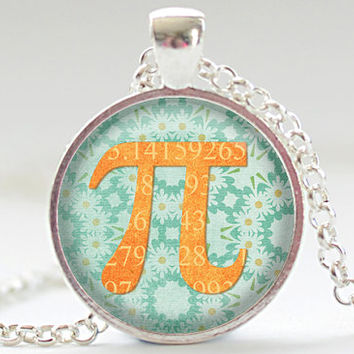 Pi Necklace, Math Pendant, Pi Jewelry, Geekery Charm, Your Choice of Finish (488)