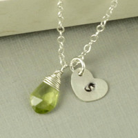 Peridot Necklace, Aqugust Birthday Monogram Necklace Gift, Green, Heart Disc, Sterling Silver, Bridesmaids Gift, Wedding, Anniversary Gift