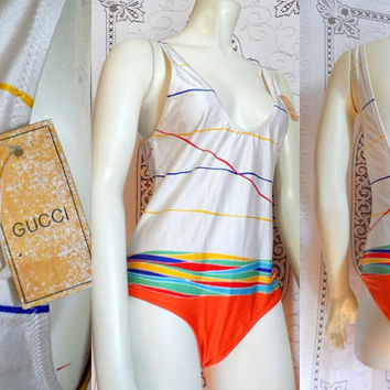 G. GUCCI 70s Rare Bathing Suit, Deep V Low Back Sexy Striped Swimsuit Swim One Piece Swimsuit Swimwear Designer 80s Authentic Made in Italy