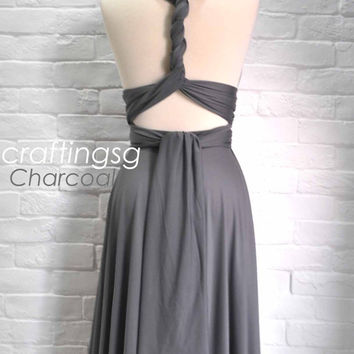 Bridesmaid Dress Infinity Dress Charcoal Grey Knee by craftingsg